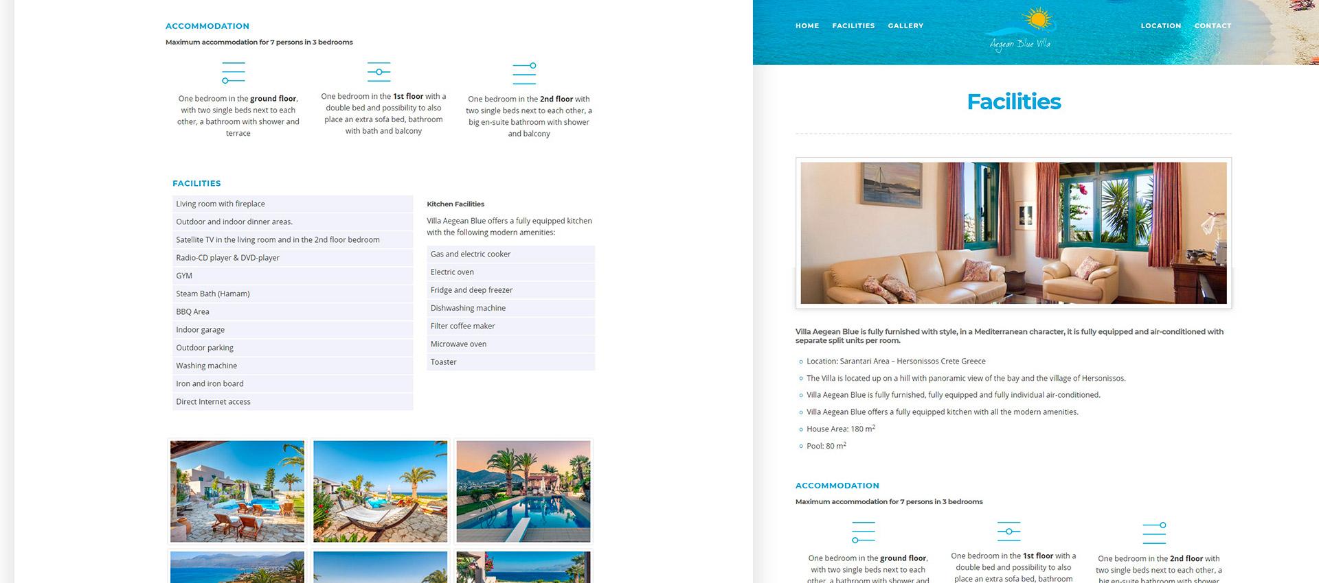 Έργο Aegean Blue Villa | Web Hotelier Integration | Webtrails